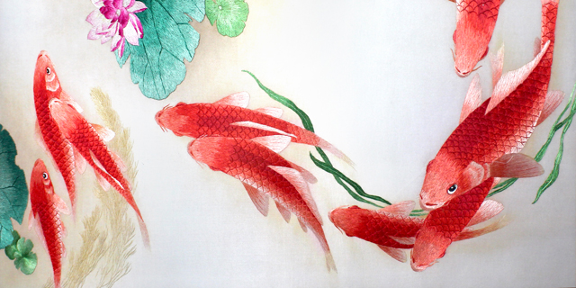 九鲤图-40-60cm-国画-工笔画-鱼-荷花-荷叶-(1)
