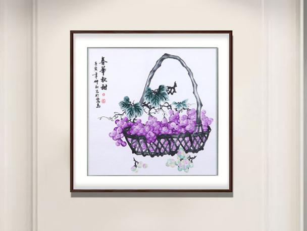 刺绣秋实图 餐厅装饰画