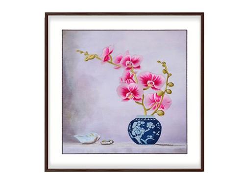 卧室装饰画 刺绣蝴蝶兰