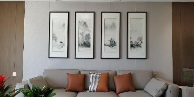 开封汴绣《春夏秋冬》水墨风情四联屏,沙发背景墙刺绣装饰画。