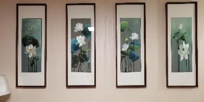 沙发背景墙挂刺绣荷花四条屏 打造有格调的家居