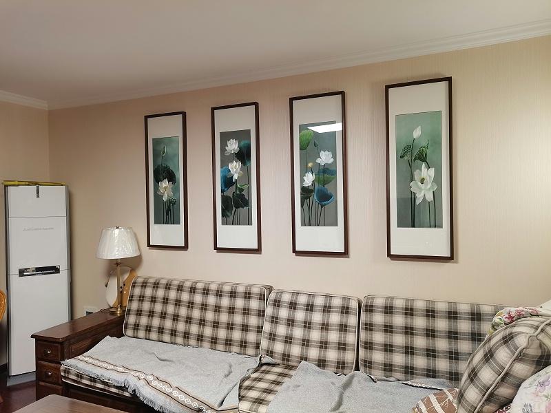 沙发背景墙装饰画 刺绣荷花四条屏