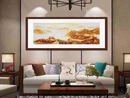 客厅装饰画 刺绣金色长城