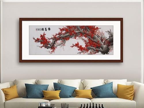 客厅装饰画 刺绣梅花报春图