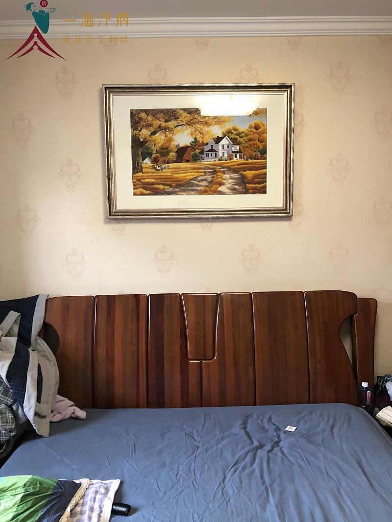 卧室装饰画 刺绣现代风景画