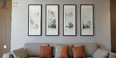 客厅挂什么画好?刺绣山水四条屏灵秀俊美
