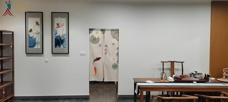 茶室挂画 刺绣荷花图