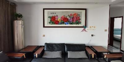 中式客厅画沙发背景墙画:刺绣牡丹雍容华贵