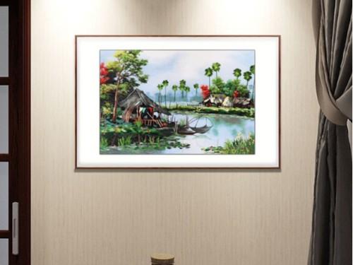 餐厅装饰画 刺绣乡间小溪