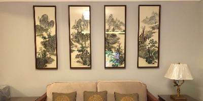 手工刺绣《水墨山水》沙发墙四联屏,感受中式的古香古色。