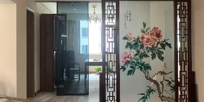 手工刺绣《花开富贵》客厅屏风,精益求精,清新脱俗。