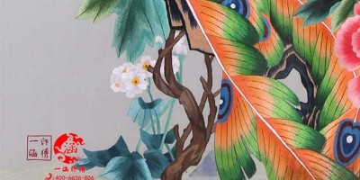 室内屏风:凤戏牡丹双面绣屏风