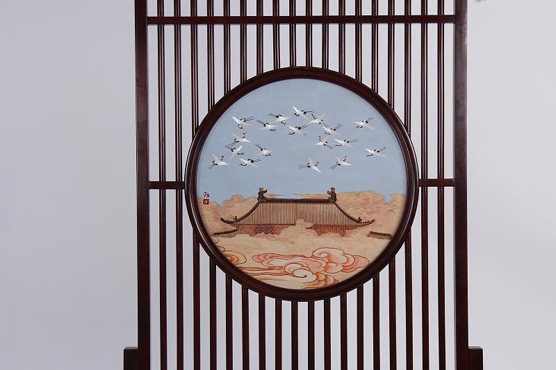 刺绣瑞鹤图 新中式隔断屏风