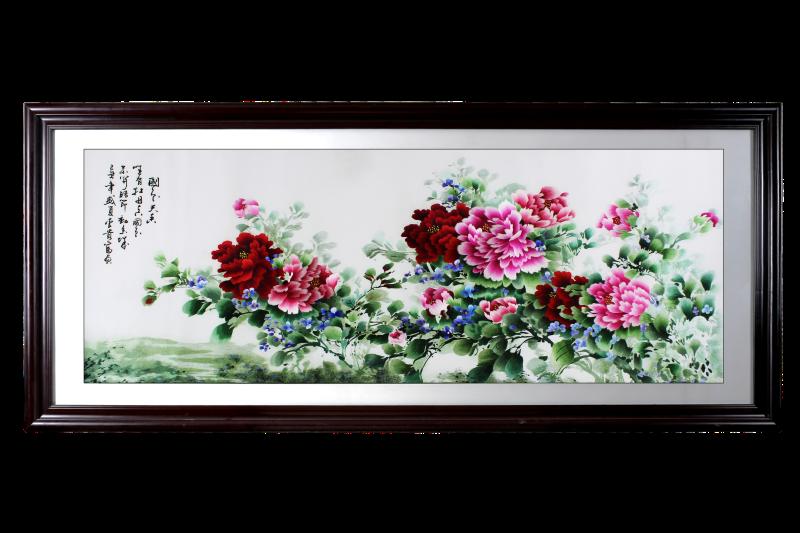 客厅挂画 刺绣国色天香牡丹图