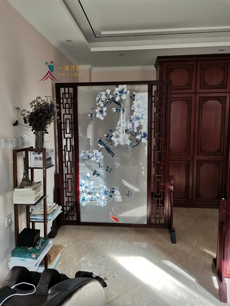 家居进门玄关屏风 双面绣玉兰屏风