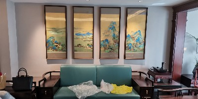 客厅装饰挂画:刺绣千里江山为生活调色