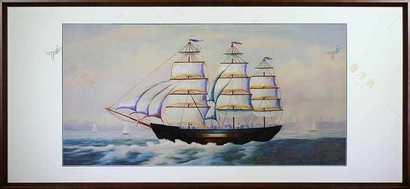 客厅挂画 手工汴绣画一帆风顺