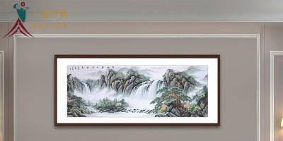 客厅沙发背景墙山水画:体验青山碧水共云天