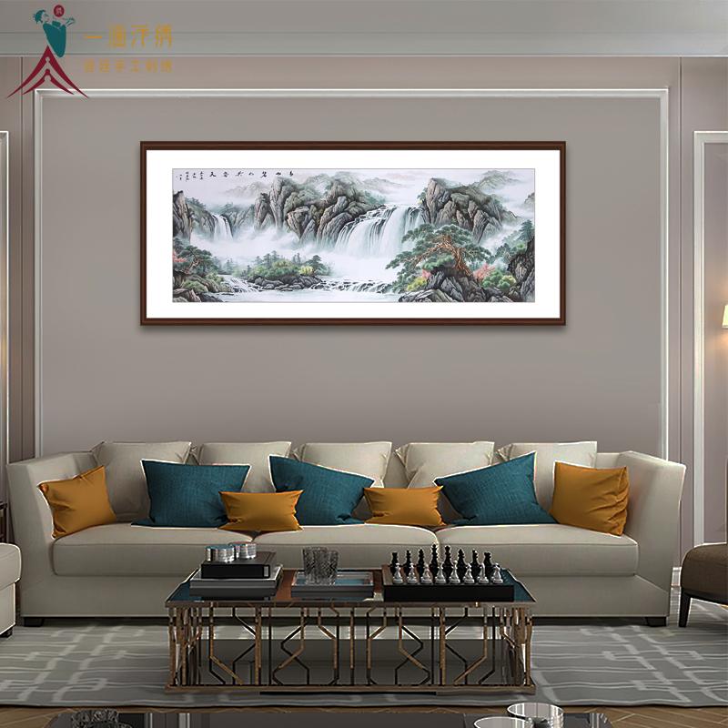 客厅沙发背景墙山水画 刺绣青山碧水共云天