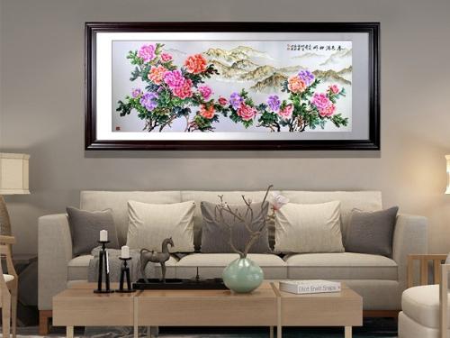 客厅装饰画 刺绣春色满神州