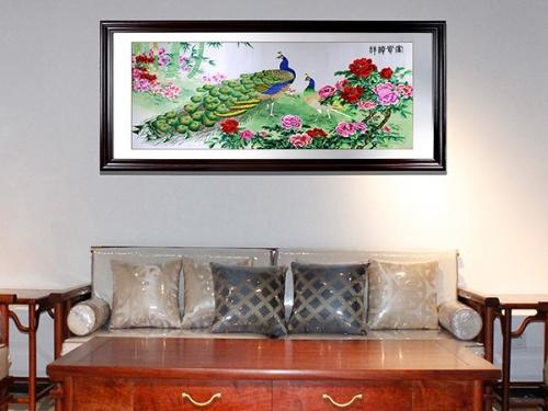 客厅装饰画 刺绣孔雀牡丹装饰画