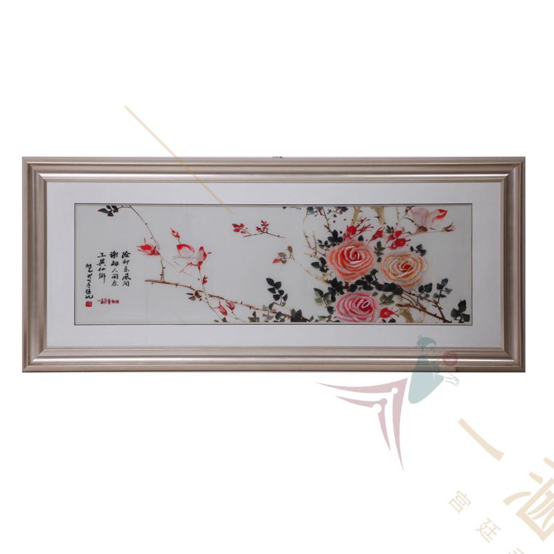 新中式装饰画 刺绣月季图