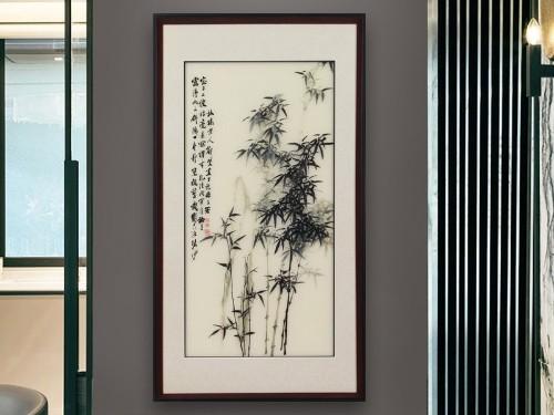 玄关装饰画 刺绣竹子图