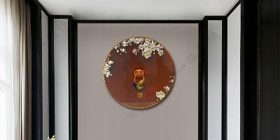 手工刺绣《祥瑞》圆屏玄关装饰画,印象中国风,江山满富贵。