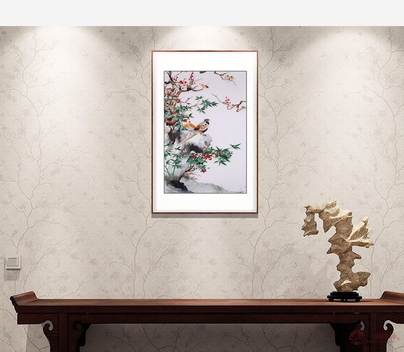 玄关刺绣花鸟图