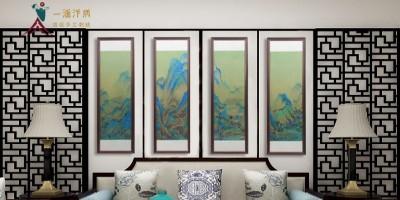 刺绣国画四条屏 装饰客厅更有艺术感