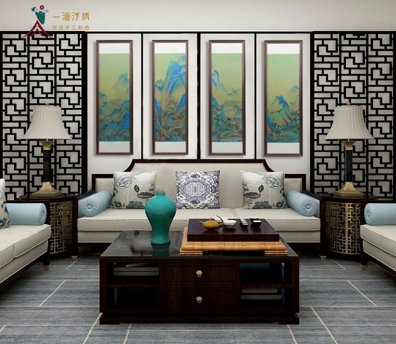 刺绣山水画千里江山四条屏 客厅沙发背景墙装饰画