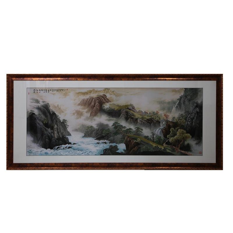 大幅刺绣山水画 别墅客厅装饰画