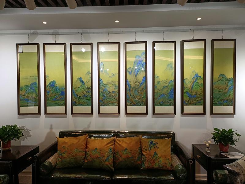 办公室装饰画 刺绣千里江山图八条屏