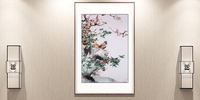 """""""月出惊山鸟,时鸣春涧中。""""手工刺绣《花与鸟》装饰画"""