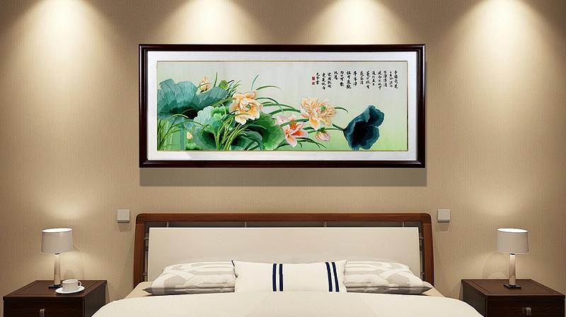 卧室装饰画 刺绣荷花图