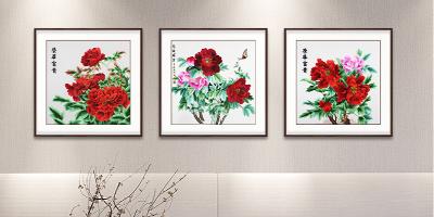 客厅装饰画,手工刺绣《荣华富贵》三联画,致以经典的雍容