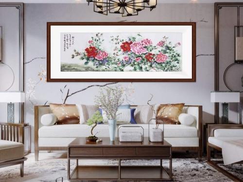 客厅装饰画 刺绣牡丹国色天香