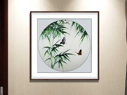 餐厅装饰画 刺绣蝶与竹
