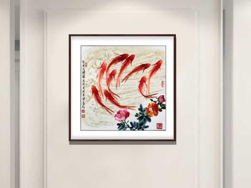 餐厅装饰画 刺绣牡丹九鲤图