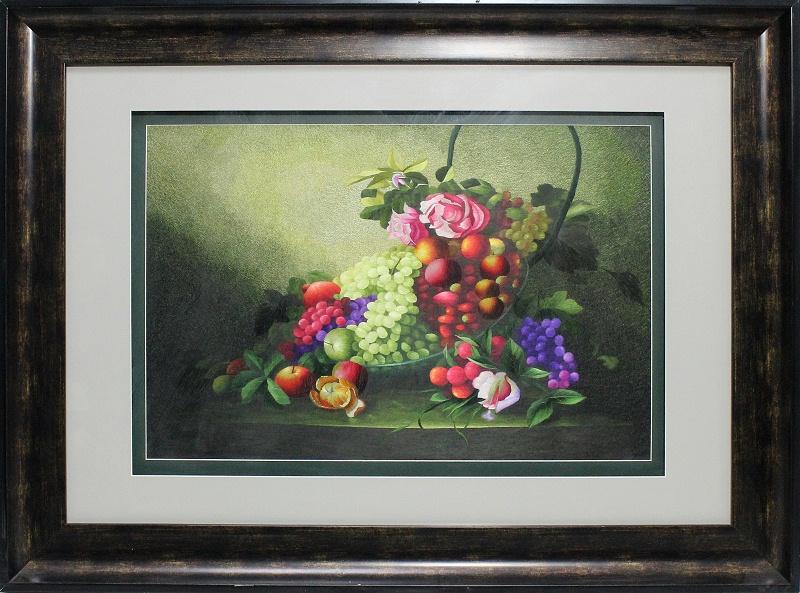 欧式沙发背景墙装饰画 刺绣油画水果图
