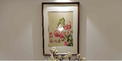手工刺绣百合花,合家欢乐装饰画 ,沉浸汴绣时刻,纵享文化体验。