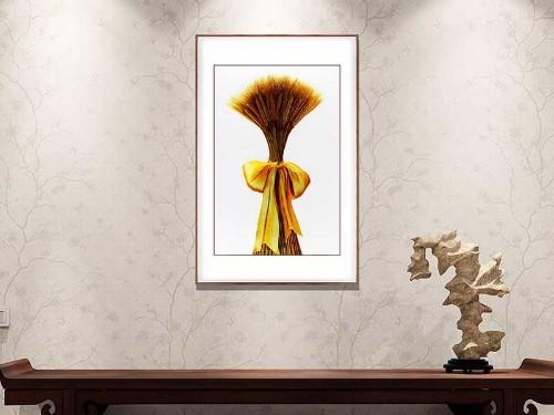 玄关装饰画 刺绣麦穗