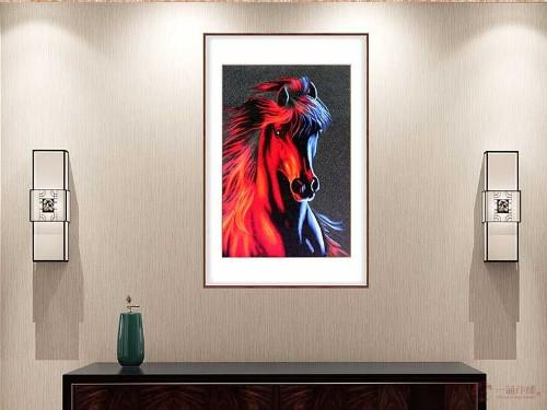 玄关装饰画 刺绣彩色马头