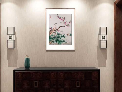 玄关装饰画 刺绣花鸟图