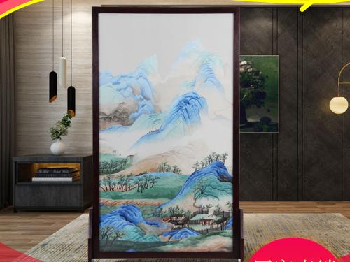 家用客厅茶室屏风 双面绣千里江山图