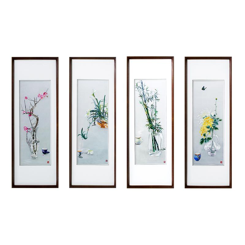 客厅挂什么画好?梅兰竹菊四条屏