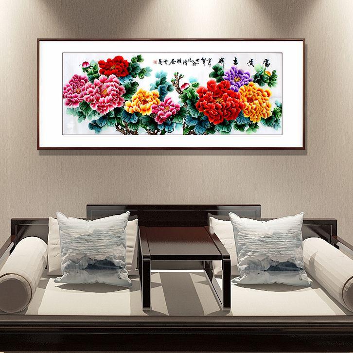 一涵汴绣沙发背景墙装饰画——牡丹图
