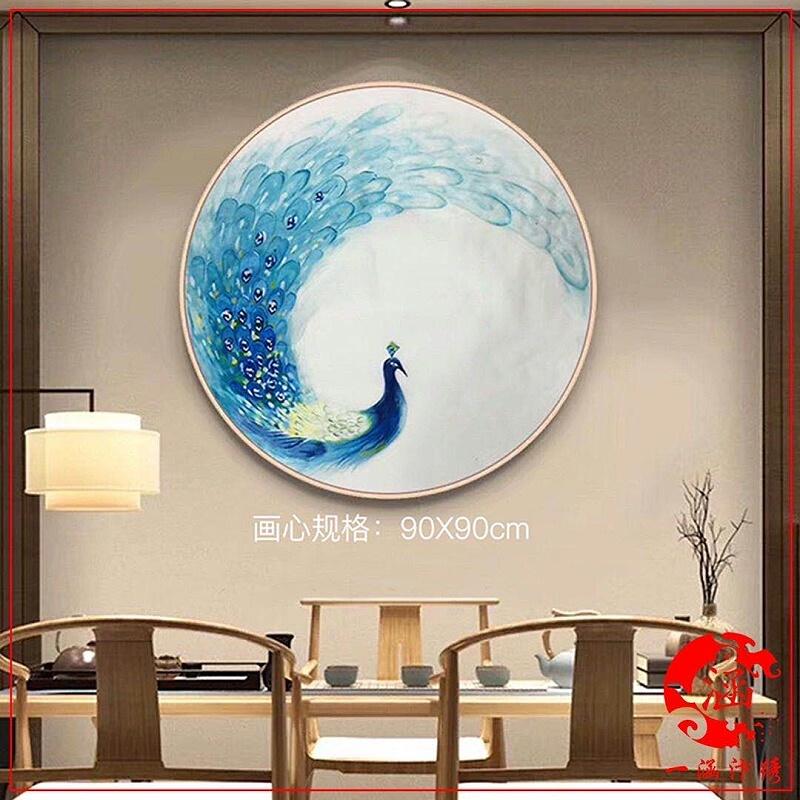 新中式装饰画 刺绣孔雀图