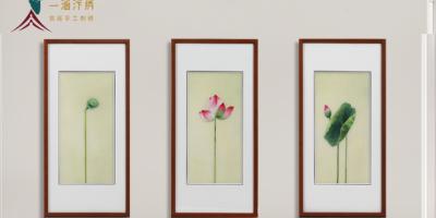 新中式装饰画:刺绣荷花轻奢唯美