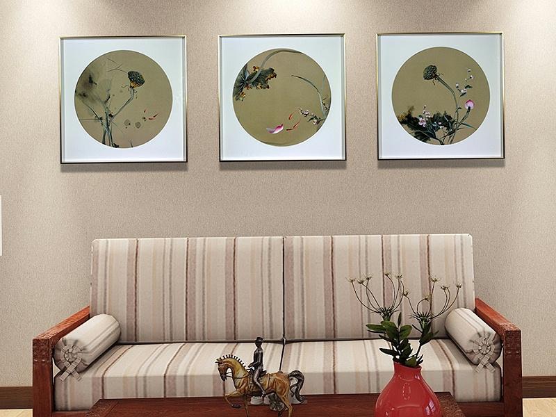 客厅装饰画 刺绣荷花三条屏
